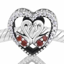 Charm Corazón Cisnes