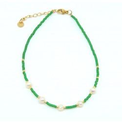 Tobillera Verde con Perlas...